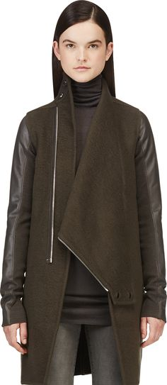 Rick Owens - Brown Cashmere & Leather Exploder Coat | SSENSE
