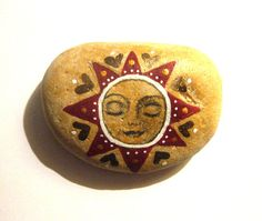 Hand painted sun art stone/paperweight. by SeeQueenStones on Etsy, £10.00