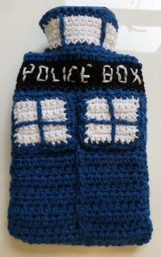 TARDIS handmade crochet hot water bottle cover with bottle - sci-fi, Dr Who Diy Crochet And Knitting, Crochet Cozy, Crochet Gifts, Crochet Things, Knitting Ideas, Pocket Warmers, Water Bottle Covers, Knitted Throws, Crochet Patterns