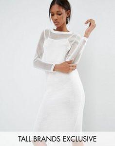 Noisy May Tall Kicks Back Mesh Grid Long Sleeve Bodycon Dress