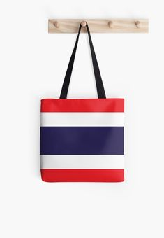 'Flag Of Thailand' Tote Bag by ArgosDesigns Thailand Flag, Buy Flags, Long Hoodie, Laptop Sleeves, Wall Tapestry, Decorative Throw Pillows, Chiffon Tops, Classic T Shirts, Iphone Cases