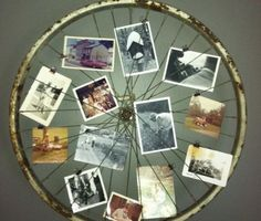 Old Bicycle Wheel Picture Frame. Turn an old bicycle wheel turned into a picture… Old Bicycle Wheel Picture Frame. Turn an old bicycle wheel turned into a picture frame for your wall. Photo Frame Display, Display Family Photos, Photo Displays, Display Ideas, Display Wall, Photo Frame Ideas, Display Pictures, Frames Ideas, Photo Frames Diy