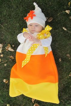 Super cute baby candy corn costume! Great step-out Tutorial: Candy Corn Costume