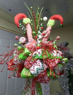 Elf Legs Christmas Tree Topper by DecoMeshObsession on Etsy ...