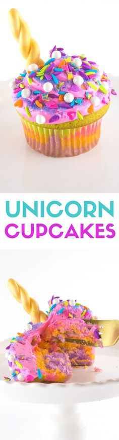 My unicorn obsession is real, my friends. Colorful, sweet, and bright rainbow colors of unicorn EVERYTHING. Unicorn ice cream, magic wands, and even poop. I'm into it all. These multi-colored cupcakes covered with a TON of sprinkles and a shiny gold horn