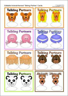 Editable talking partner cards - animals (SB9047) - SparkleBox Partner Talk, Partner Cards, Teaching 5th Grade, Formative Assessment, Teacher Resources, Teaching Ideas, Readers Workshop, Eyfs, Upper Elementary