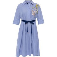 Seventy Blue And White Striped Embroidered Dress ($325) ❤ liked on Polyvore featuring dresses, stripes, blue white striped dress, embroidered dress, pleated dress, half sleeve dresses and embroidery dress