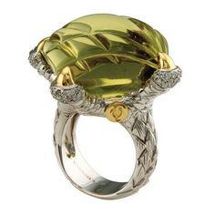 Lemon Quartz & .51 ct Diamond Ring
