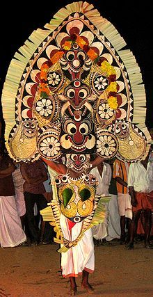 Padayani is a traditional folk-dance form of Kerala.  Padayani or padeni colloquial speech, is one of the most colourful and spectacular ritual art associated with the festivals of certain temples in southern Kerala, south India