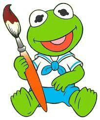 Baby kermit with paintbrush- rock painting inspiration Frog Drawing, Baby Drawing, 80 Cartoons, Animated Cartoons, Cute Wallpaper Backgrounds, Cute Wallpapers, Muppet Babys, Die Muppets, Learn To Sketch