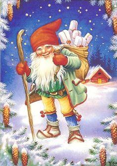 Lars Carlsson (1921-2002), Sweden Swedish Christmas, Scandinavian Christmas, Christmas Elf, Vintage Christmas Cards, Christmas Pictures, Christmas Knomes, Elves And Fairies, Cross Paintings, Christmas Illustration