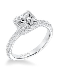 Engagement Rings :   Illustration   Description   Classic diamond halo engagement ring I Style: 31-V668ECW-E I by ArtCarved I knot.ly/6495B2LYz    -Read More –   - #WeddingRings https://adlmag.net/2017/12/26/engagement-rings-classic-diamond-halo-engagement-ring-i-style-31-v668ecw-e-i-by-artcarved-i-knot/