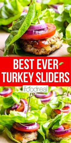 These Healthy Turkey Burger Sliders are fast, juicy and flavourful. With a bit of bacon, cheese and traditional fixings, everyone will love these mini burgers wrapped in lettuce. Oven Turkey Burgers, Turkey Sliders, Mini Burgers, Healthy Potluck, Healthy Family Meals, Healthy Breakfast Recipes, Healthy Eating, Low Carb Dinner Recipes, Potluck Recipes