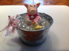 Pig taking a bubble bath
