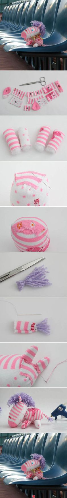 DIY Pink And White Sock Zebra