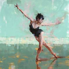 Dancer #5, 36x36, Oil on Panel - Jacob Dhein