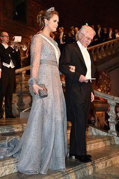 Princess Madeleine of Sweden and Nobel Prize in Chemistry, Professor Paul Modrich arrive at the Nobel Prize Banquet 2015 at City Hall on December 10, 2015 in Stockholm, Sweden.