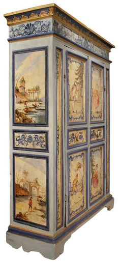 An Century Venetian Two Door Painted Armoire Image 2
