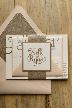 ADELE Suite Glitter Package, blush and gold, letterpress wedding invitations, gold glitter, package http://www.vintagevinylcds.com/