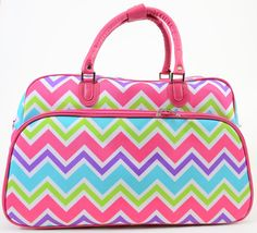 Rainbow Chevron Vegan Leather Pink Trim Duffle Travel Luggage Bag