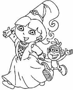 Dora Princess Coloring Pages With Boots Print