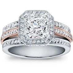 Just a touch of rose.  This Triple Shank Pave Setting has the perfect of rose to make you blush the same color.