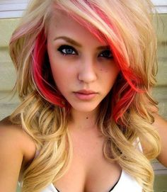 Hot CORAL  18 100 Human Hair Extensions Keratin by UniqueHeelz  I want to do this color but one strand in the back.