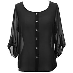 Black Crepe Chiffon Semi Sheer Blouse Top With Button Tab Sleeves ($14) ❤ liked on Polyvore featuring tops, blouses, black, long sleeve tops, crepe blouse, roll top, round top and roll sleeve blouse