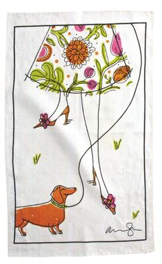 {walking the dachshund} tea towel design by Alanna Cavanagh
