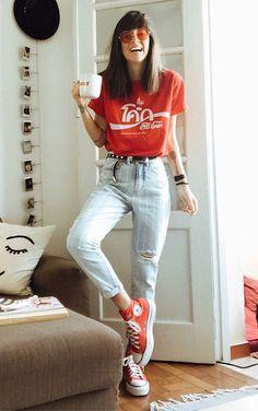 9 dicas para incrementar o look casual - Guita Moda Red Converse Outfit, High Top Converse Outfits, Converse All Star, Cool Outfits, Casual Outfits, Summer Outfits, Fashion Outfits, All Star Outfit, Rote T-shirts