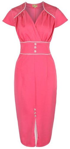 Amazon.com: Lindy Bop 'Cecelia' Chic Vintage 1950's Style Pencil Wiggle Dress: Clothing  Nice use of piping — LDJ