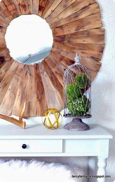 DIY Home Decor ~ Ballard Designs Knock Off Mirror from Repurposed Wood Shingles