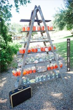 Rustic Country Wedding Decorations Simple Ideas With Ladder wedding food Rustic Food Display, Drink Display, Display Ideas, Display Pictures, Diy Wedding, Rustic Wedding, Wedding Reception, Wedding Ideas, Ladder Wedding