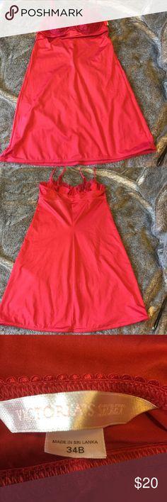 Victoria's Secret Red Nightie Slightly Padded 34B Victoria's Secret Red Nightie Lingerie.  Slightly Padded Bra. Gently used. Size 34B Victoria's Secret Intimates & Sleepwear Chemises & Slips
