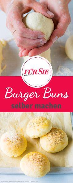 Rezept Burger Buns: Wer Burger selber machen möchte, sollte auch die Burger-Brötchen selber backen. In unserem Rezept macht Buttermilch die Burger-Buns besonders fluffig und verleiht ihnen eine leicht süße Geschmacksnote.