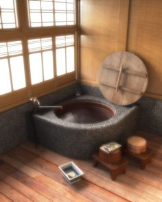 Traditional Japanese round bath with washing benches and tubs #smartvilleSweepstakes