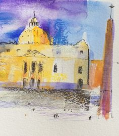 Rome sketch by Scott Jessop. Pastel over watercolour and ink.