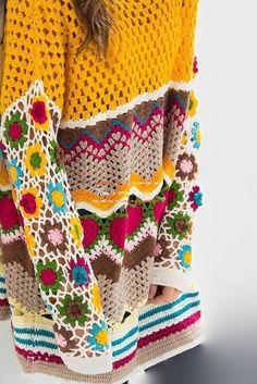 Crochet Shirt, Crochet Cardigan, Knit Crochet, Freeform Crochet, Crochet Stitches, Crochet Designs, Crochet Patterns, Moda Crochet, Beach Shirts