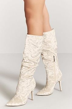 Crushed Velvet Stiletto Boots