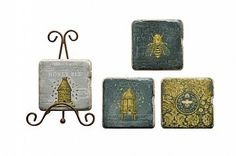 """SQUARE COASTERS W/ BEES, RESIN SET OF 4 W/ METAL EASEL, 4""""SQ"""