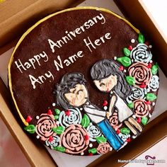 Make an attractive and romantic love anniversary cake with name of your life partner or your friend. Wish a happy anniversary day in a most lovely way. Happy 18th Birthday Daughter, Birthday Cake Kids Boys, Guys 21st Birthday, Happy Birthday Best Friend, Happy Birthday Cake Images, Mum Birthday Gift, Happy Belated Birthday, Happy Birthday Greeting Card, Birthday Cakes