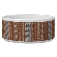 Rustic Western Pattern Pet Dog Cat Ceramic 40 oz. Bowl