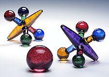 """Colored Jack Set by Michael Trimpol and Monique LaJeunesse (Art Glass Sculpture) (8.5"""" x 8.5"""")"""
