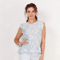 Women's LC Lauren Conrad Floral Jacquard Peplum Top ($28) ❤ liked on Polyvore featuring tops, med blue, flutter-sleeve top, crew neck tops, flower print top, flounce top and floral print tops