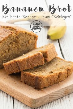 """Bananenbrot (Banana Bread) The banana bread is really nice juicy, soft, fruity and slightly caramel-tasting. In this banana bread, I could literally get into it! As is typical for banana bread, it is actually more a cake than a """"bread"""". Banana Bread French Toast, Baked French Toast Casserole, Healthy Banana Bread, French Toast Bake, Dessert Oreo, Vegan Cake, Banana Bread Recipes, Easy Snacks, Sweet Recipes"""
