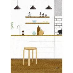 理想のキッチンについて考えるのは楽しい。とりあえずキッチンに小さな椅子があるのが好きです。 #artek#stool60#スツール60#アルテック#北欧家具#緑のある暮らし