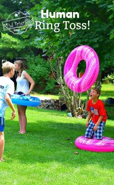 Human Ring Toss Game - A Fun and Easy Summer Outdoor Game for Kids and Adults - DIY game for the backyard or even indoors - Would also make a great Minute To Win It game! www.kidfriendlythingstodo.com #summergame #outdoorgameforkids #teengamesummer