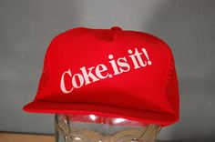 3caf2542db653 Items similar to Vintage Hat   Coca Cola   Coke Is It   Red   Trucker Hat  on Etsy
