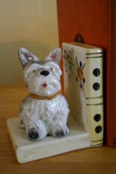Pretty Little Terrier Porcelain Bookend mid by violetandadelaide, $10.00