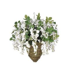 House of Silk Flowers Artificial Wisteria Hanging Plant in Beehive Basket Flower Color: White
